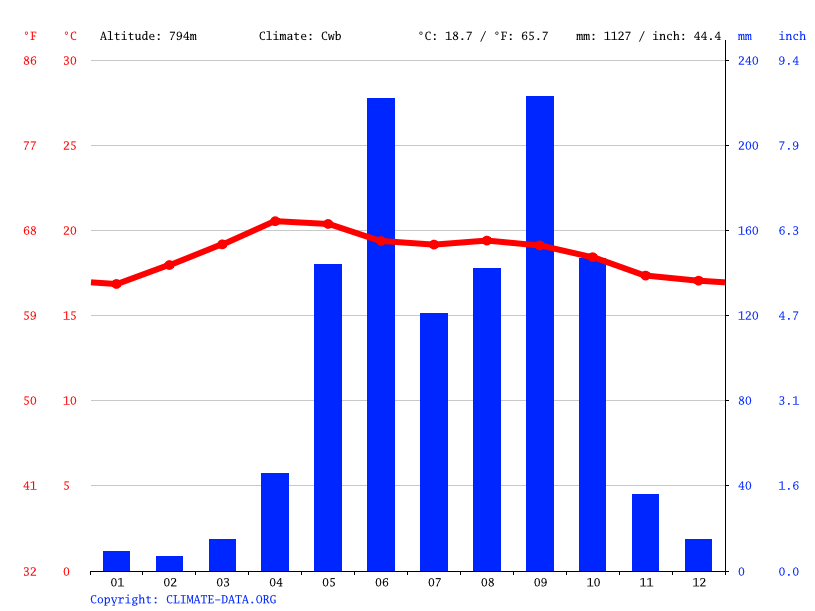 Climate graph // Weather by Month, Sansare