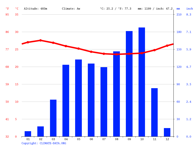 Climate graph // Weather by Month, Bafia