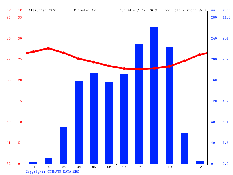 Climate graph // Weather by Month, Baoro