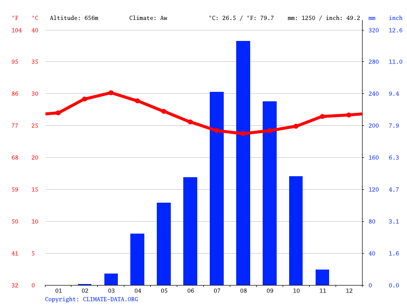 Climate graph // Weather by Month, Bondia
