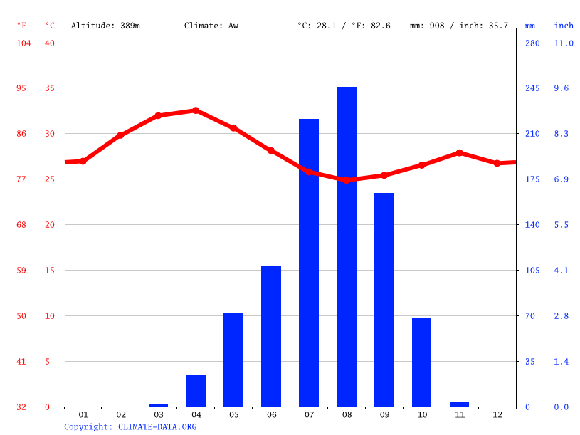Climate graph // Weather by Month, Biobé