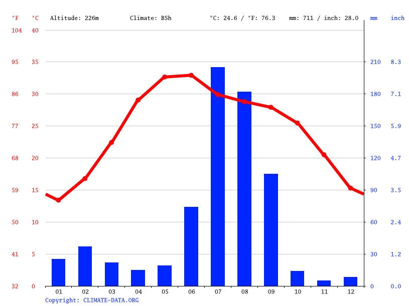 Climate graph // Weather by Month, Delhi